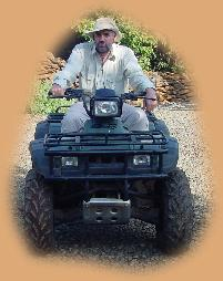 Me getting used to the quad-bike. It isn't as easy as motorbike as you can't lean into the corners!